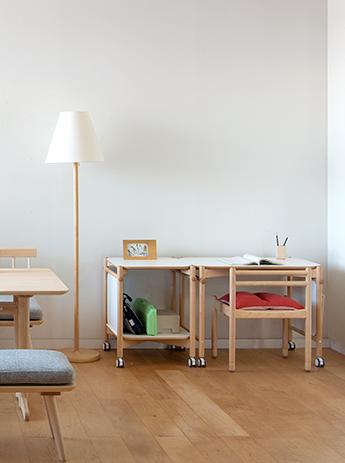 Lamp stand, coitti desk, chair, shelf, wagon