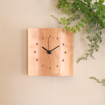 Mine Clock (Small) Maple / Placed image / Green / Table clock / Wall clock