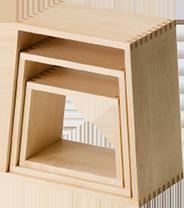 Nest stool Matryoshka Nested shelves Design shelves Multi-purpose Mini table Low table Low chair Display shelf Interior Unusual furniture Simple 3 pieces Sakura wood Maple wood