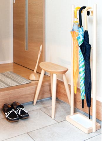 Rainy rack, umbrella stand, entrance storage, easy storage, easy, care, urethane coating, solid wood, natural, simple, umbrella holder, umbrella holder, broom, broom