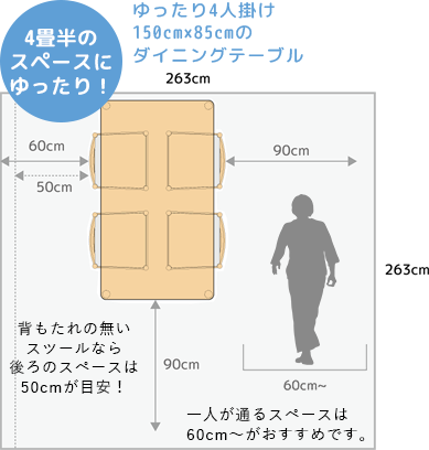 A comfortable four-seater dining table 4 tatami mats 5 tatami mats 6 tatami mats living alone Tokyo backrest chair stool chair living dining space for one person