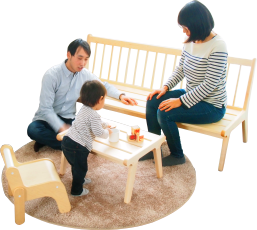 Relax with a family of four. A cosine living room that can be comfortably placed in a space of 5 tatami mats