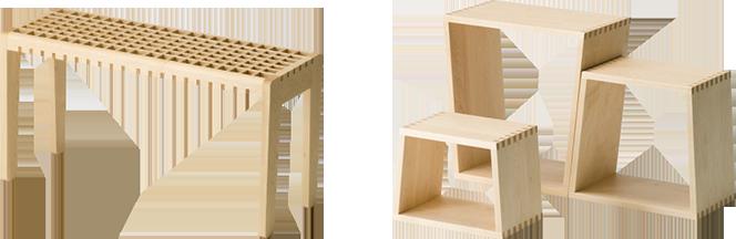 KOHSHI stool and nest stool [set of 3]