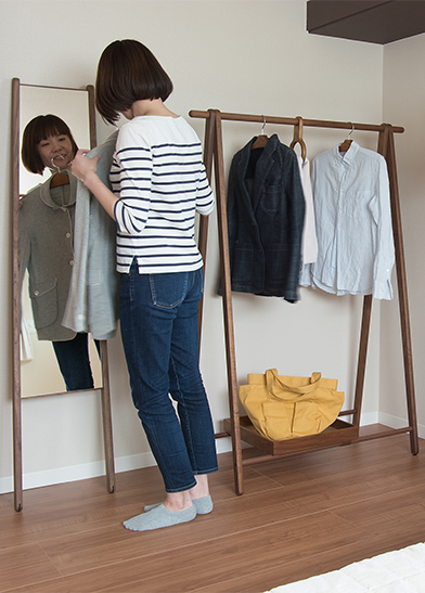 Example of using dress rack and carry mirror