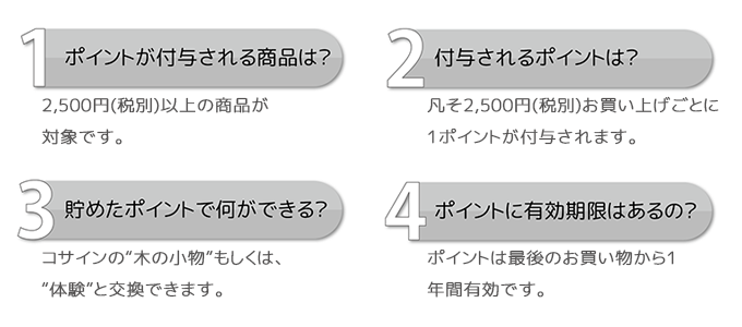 1 point will be awarded for every 2,500 yen purchased.